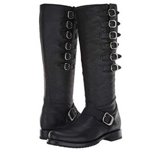 FRYE Veronica Belted Tall Boots Black Washed Oiled